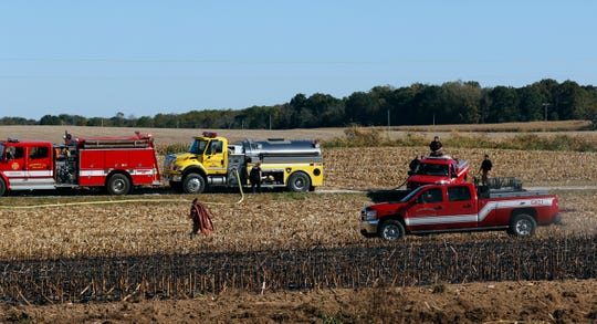 Firefighters from six county fire departments responded to a field fire Tuesday afternoon, Oct. 15, 2019, at Ohio 37 and Marquette Drive in Pleasant Township.