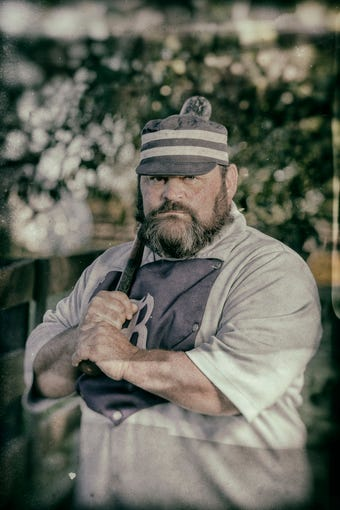 "Ryan ""Tugboat"" Douglas, of the Bluegrass Barons vintage baseball team.Oct. 13, 2019."
