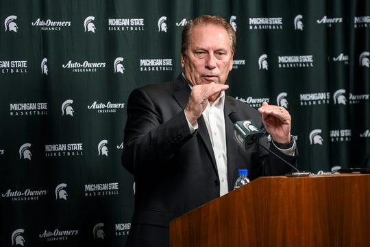 Michigan State's head coach Tom Izzo answers questions during Spartans basketball media day on Tuesday, Oct. 15, 2019, at the Breslin Center in East Lansing.