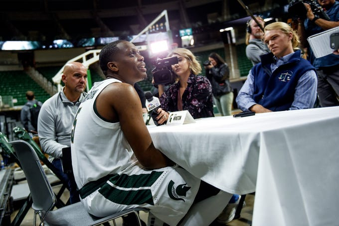 Michigan State senior guard Cassius Winston answers questions during media day on Tuesday, Oct. 15, 2019, at the Breslin Center in East Lansing.