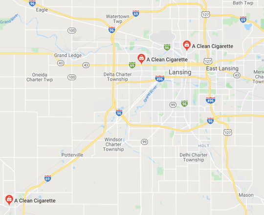 A Clean Cigarette has three locations in the Lansing area.