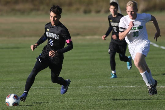 Ontario's Kyle Woods scored a header goal during the Warriors' 3-0 win over Clear Fork on Monday.