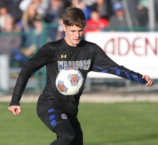 Ontario's Josh Young popped in a penalty kick during the Warriors' 3-0 win over Clear Fork on Monday.