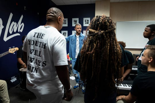 Justin Timberlake inside the Stax Music Academy's new Song Lab, built as part of the Levi's Music Project.