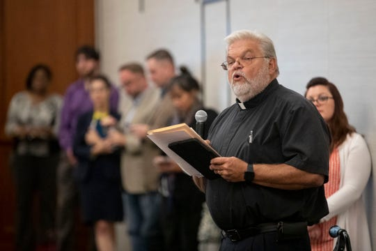 The Rev. Gordon Myers speaks on Oct. 15 during a hearing on the proposed TennCare block grant at University of Memphis.
