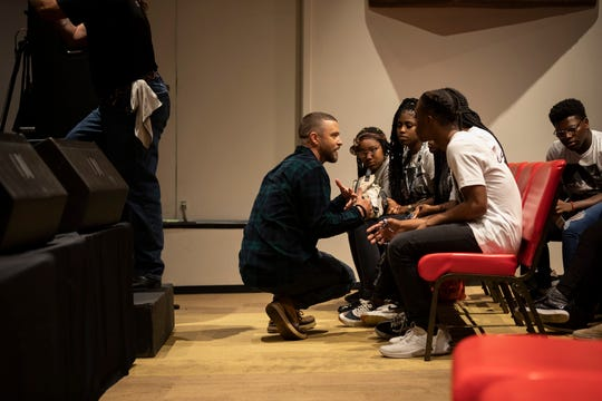 Justin Timberlake talks to students of the Stax Music Academy during a mentoring session in August.