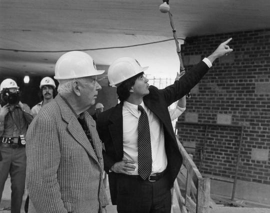 E.A. Carmean Jr. (right) with revered artist Alexander Calder, during the construction of the East Building of the National Gallery of Art.