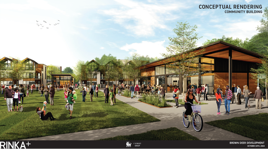 This rendering shows the community building, public park and town homes from Deerwood Drive.