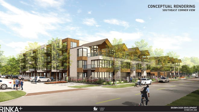 F Street Group has two four-story apartment buildings and four town home buildings. The two town home buildings on each end are actually part of the apartment building, but the architecture will be similar to the four town home buildings toward the center of the site.
