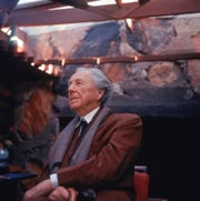 Frank Lloyd Wright, the Wisconsin-born architect, is seen here at Taliesin West in Scotttsdale, Arizona in 1955.