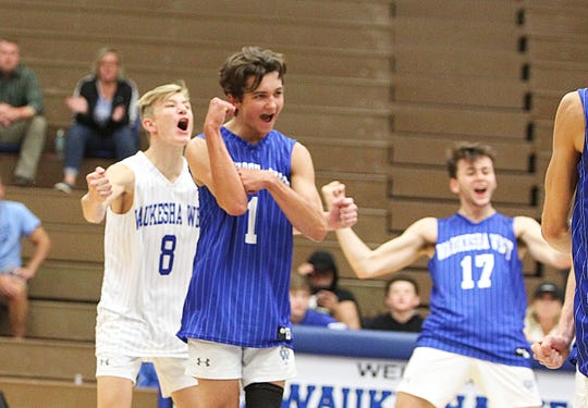 Matthew Spellman plays during the Waukesha West-Muskego volleyball game at Waukesha West September 4, 2019.