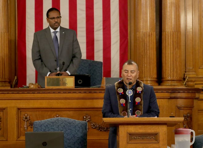 Native American Motivational Speaker and Cultural Activist Brian Frejo offers the invocation prior to a Common Council meeting at the Milwaukee City Hall Common Council Chambers in Milwaukee on Tuesday.