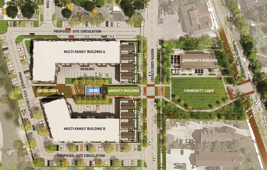 This site map shows two four-story apartment buildings and eight town homes. The two town homes on each end are actually part of the apartment buildings, but the architecture will be similar to the four town homes in the middle.