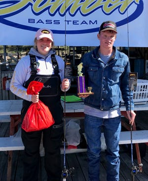 Mountain Home's Courtney Barron and Benton Vinson won the Twin Lakes High School Bass Tournament on Saturday on Bull Shoals Lake.