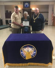 Dan Hall recently presented the Mountain Home Elks lodge a Disabled American Veterans (DAV) Certificate of Appreciation for the Elks Lodge's $200donation to the 15th Annual Veterans Outreach Appreciation Picnic held this October. The event fed over 600 active and retired military personnel, along with reservists and family members. Pictured are: (from left) Dan Hall, DAV Commander; Cathy Underwood, Elks National Veterans Service chairman; and Stuart Friend, Elks president.