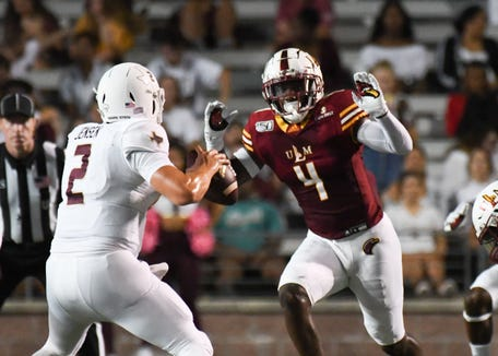 Junior linebacker Rashaad Harding (4) was in the lineup again in ULM's 24-14 win at Texas State last Thursday. Harding and senior Chase Day are listed as co-starters at Mike linebacker.