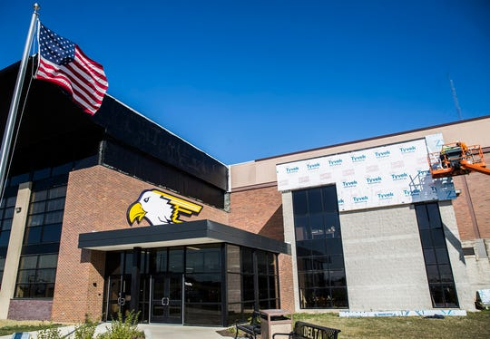 The finishing touches are still being completed at the new entrance to Delta High School.