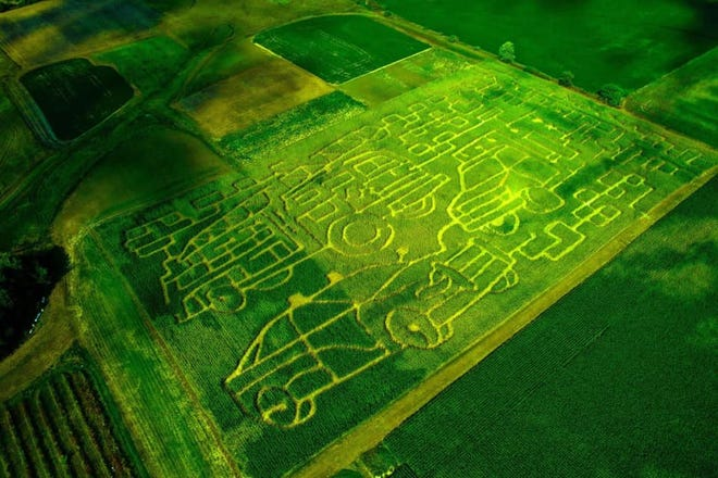 Landess Farm's 2019 maze features a fire truck, police car and ambulance to honor first responders. The maze is open until the end of October.