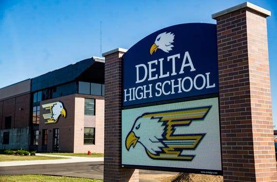 Newly constructed signage at Delta High School.