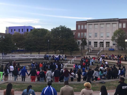 Tennessee State University students gathered on Monday, Oct. 14, 2019 for a vigil to honor student Rickey Scott, 19, who was fatally shot on campus.