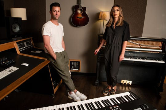 Ben Fielding and Brooke Ligertwood of Hillsong Worship pose for a portrait at Capitol Christian Music Group in Brentwood on Oct. 14.
