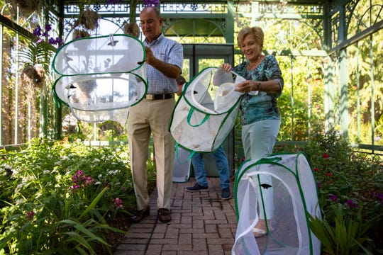 Ernie and Sandie Schaub release butterflies in to the new Ernie and Sandie Schaub Butterfly and Orchid Pavilion at the Everglades Wonder Gardens in Bonita Springs on Tuesday, Oct. 15, 2019.