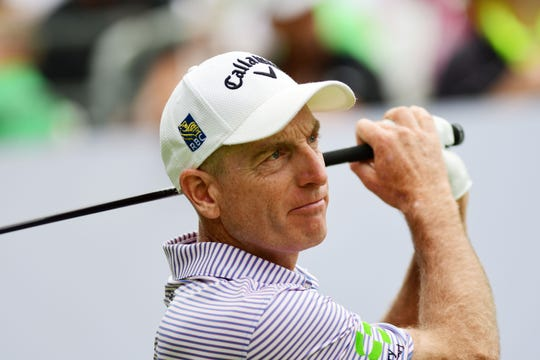Jim Furyk, shown in the BMW Championship golf tournament at Medinah Country Club, played in the Immokalee Charity Classic at The Old Collier Golf Club on Monday.