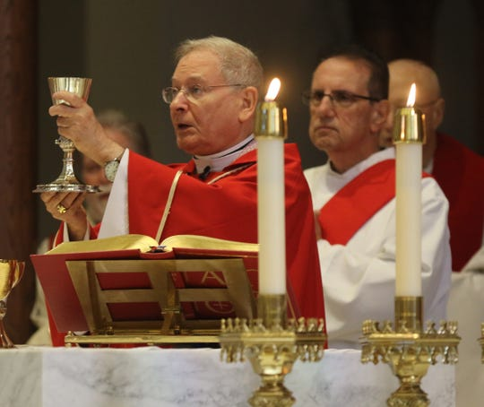 Bishop Arthur Serratelli celebrates the eucharist at the Diocese of Paterson.