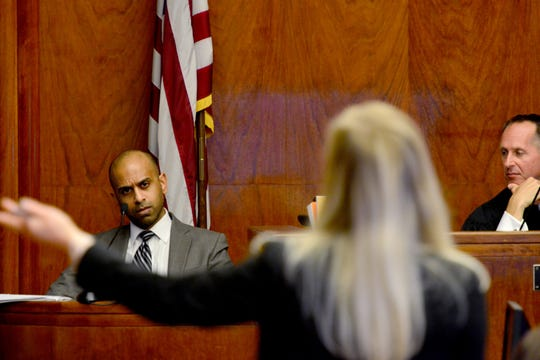 Jillian Elko, the defense attorney for Raphael Lolos, cross examines FBI Special Agent Ajit David on his experience during the Raphael Lolos trial at the Bergen County Superior Court before Judge Robert M. Vinci in Hackensack, N.J. on Tuesday October 15, 2019. Lolos, of Bergenfield, is charged with murdering his girlfriend in 2017, dismembering her body and dumping the parts in the Hudson River.