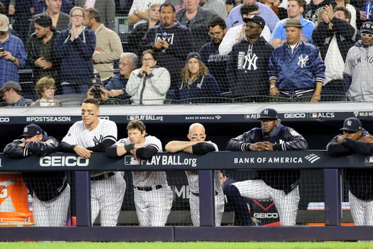 The Yankees do not look hopeful while down, 2-0 in the fifth inning. Tuesday, October 15, 2019