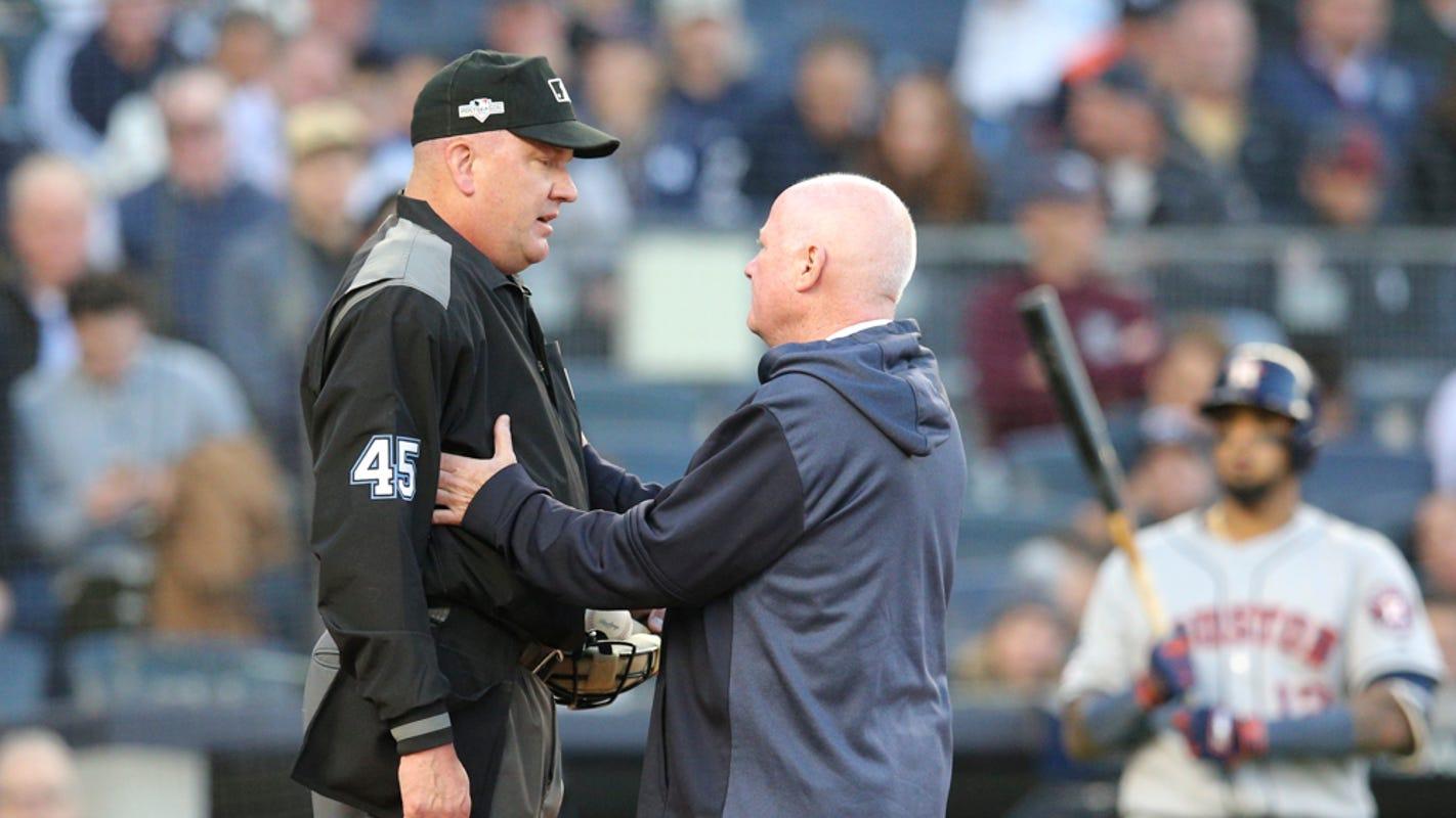 New York Yankees Alcs Game Vs Astros Delayed As Umpire