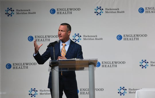 Englewood Health president Warren Geller announcing that Englewood Health will merge into Hackensack Meridian Health