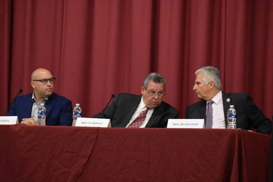 Bloomfield Mayor Michael Venezia, Nutley Mayor Joseph Scarpelli and Essex County Executive Joseph DiVincenzo spoke at a panel regarding the lead crisis in their towns and the county on Oct. 15, 2019 in Bloomfield.