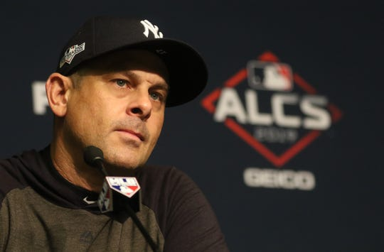 Yankees Manager, Aaron Boone, speaks to the media before Game 3 of the American League Championship Series.  Tuesday, October 15, 2019