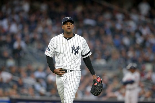 Oct 15, 2019; Bronx, NY, USA; New York Yankees starting pitcher Luis Severino (40) leaves the field after being relieved during the fifth inning in game three of the 2019 ALCS playoff baseball series against the Houston Astros at Yankee Stadium.