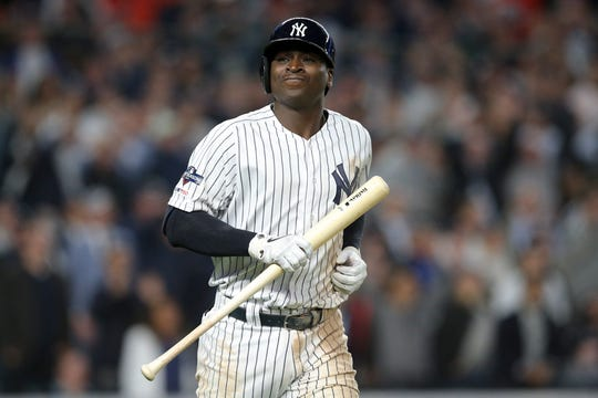 Oct 15, 2019; Bronx, NY, USA; New York Yankees shortstop Didi Gregorius (18) reacts after a swing that went foul during the fifth inning in game three of the 2019 ALCS playoff baseball series against the Houston Astros at Yankee Stadium.