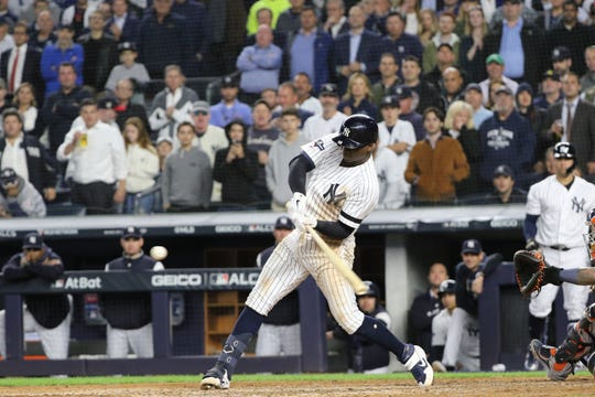 Didi Gregorius took this ball to the wall in the fifth inning before Josh Reddick (not shown) caught the ball to end the fifth inning. Tuesday, October 15, 2019