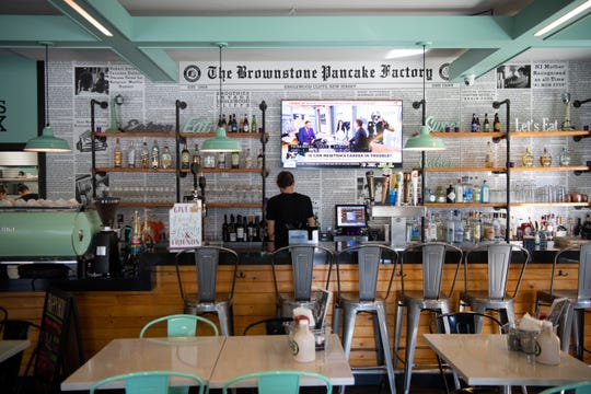 The airy, open dining room of the Brownstone Pancake Factory in Englewood Cliffs