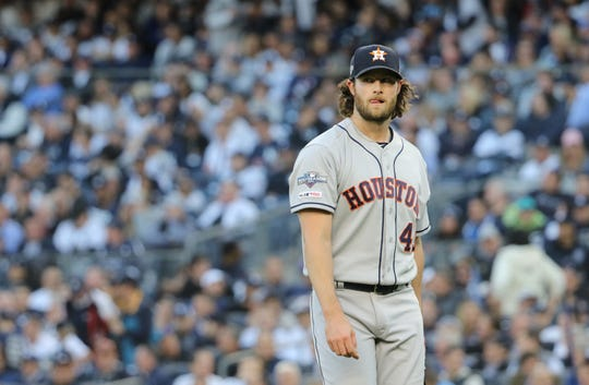 Gerrit Cole, of the Astros, was working on a shut out after four innings. Tuesday, October 15, 2019