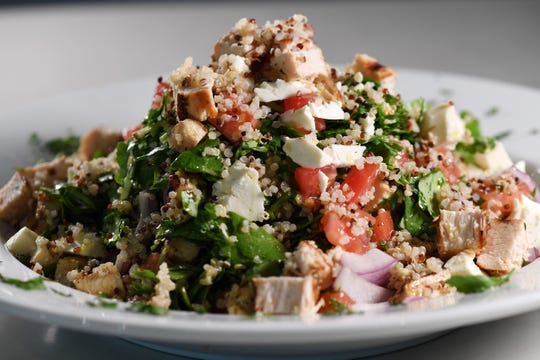 Ahhhh, for a health choice: a quinoa kale salad flecked with feta and grilled chicken at the Brownstone Pancake House in Englewood Cliffs