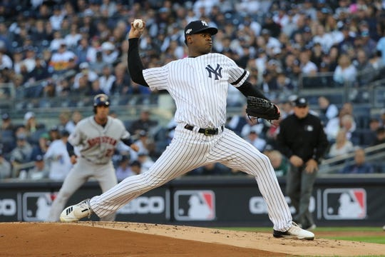 Luis Severino is shown in the first inning. The right-hand pitcher gave up one home-run in each of the first two innings. Tuesday, October 15, 2019