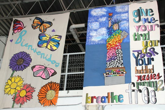 Colorful tapestries decorated the interior of the Deming National Guard Armory where asylum seekers were sheltered. The armory has not had guests since August.
