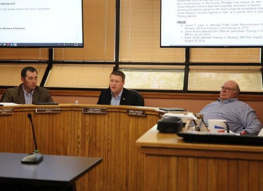 (From left)-Eddy County Commissioners Steve McCutcheon, Jon Henry and Ernie Carlson during the Oct. 15 meeting in Carlsbad.