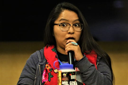 Red Nation chair Cheyenne Antonio at an Indigenous Peoples Day event at the Farmington Public Library on Oct. 15 2019.