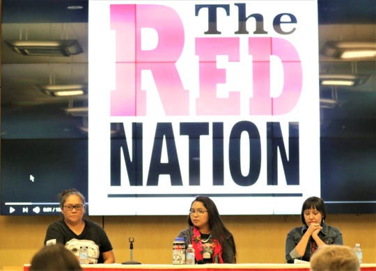 From left to right: Indigenous activist Tara Begay, Red Nation chair Cheyenne Antonio and Assistant Professor of Native American Studies at the University of New Mexico, Melanie Yazzie at a panel discussion on Native American Issues on Indigenous Peoples Day at the Farmington Public Library on Oct. 14 2019.