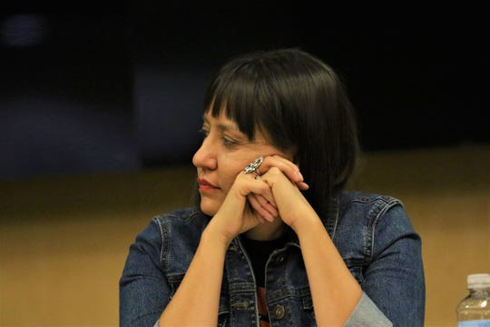 Assistant Professor of Native American Studies at the University of New Mexico, Melanie Yazzie, at a panel discussion on Native American issues at the Farmington Public Library on Indigenous Peoples Day on Oct 14, 2019.