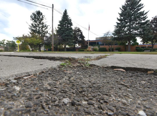 A rough patch of pavement near Plymouth's Smith Elementary School.
