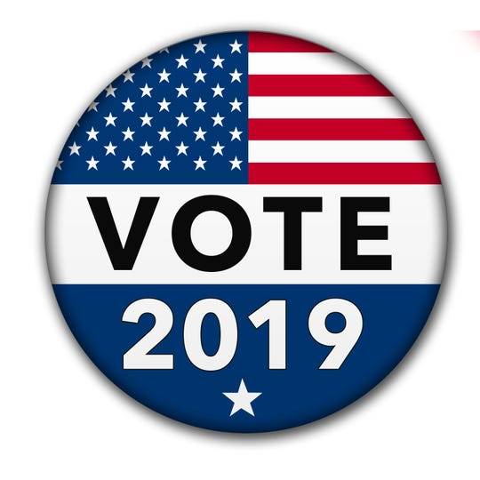 A vote button for the 2019 election season with the USA flag and drop shadow. Image is with a clipping path of the button.