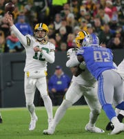 Green Bay Packers quarterback Aaron Rodgers (12) rifles a pass downfield during the second quarter of their game against the Detroit Lions Monday, October 14, 2019 at Lambeau Field in Green Bay, Wis.