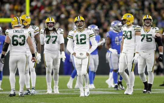 Green Bay Packers quarterback Aaron Rodgers (12) reacts top a dropped pass against the Detroit Lions during their football game Monday October 14, 2019, at Lambeau Field in Green Bay, Wis. The packers defeated the Lions 23 to 22.